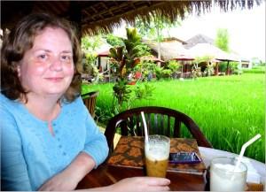 Fika vid risfält mitt i Ubud